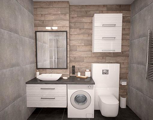 Компактно подредени мебели за баня.